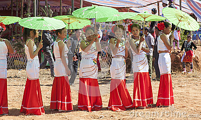 Jingpo Women with Parasols at Festival Editorial Photo