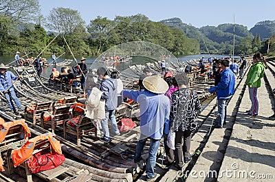 Jiuquxi stream bamboo rafting Editorial Photo