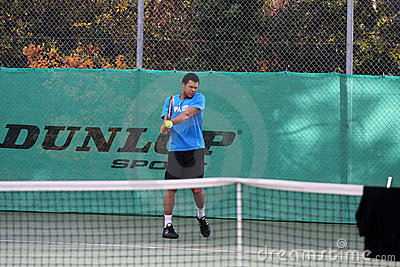 Jo-Wilfried Tsonga during a practice session Editorial Photo