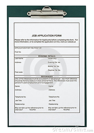 Free Job Application Form Royalty Free Stock Photos - 1295028