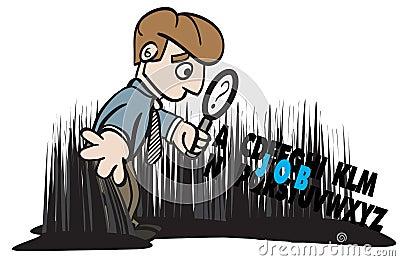 Job Seeker Looking Seeking for Job Illustration