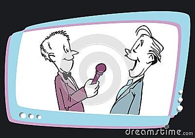Intervew and Man Speaker Television,Cartoon