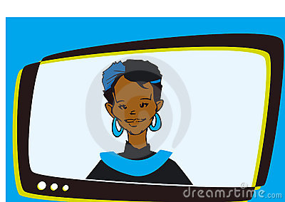 African Indian Woman Speaker Television,Cartoon
