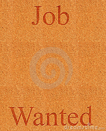 Job wanted on corkboard