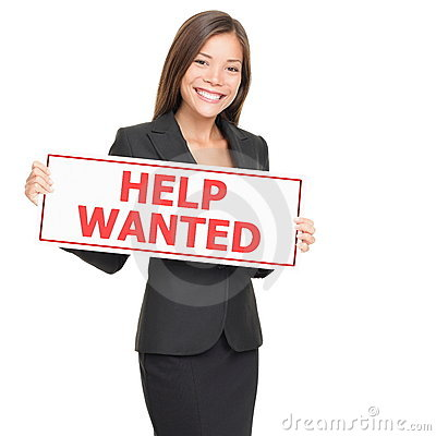 Job woman hiring holding help wanted blank sign