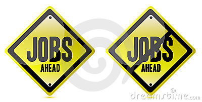 Jobs ahead Street sign