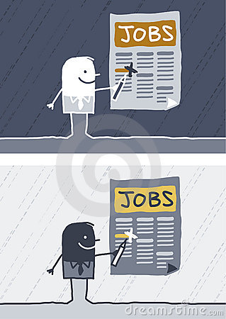 Jobs colored cartoon