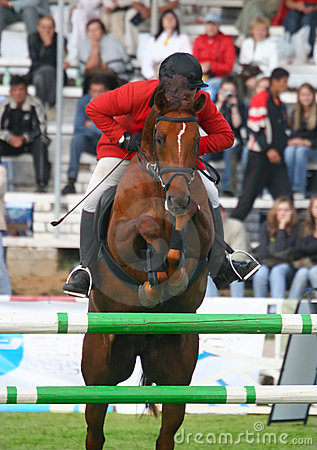 The jockey jumps through an obstacle