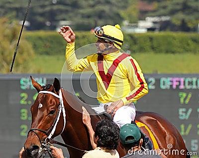 Jockey Mike Smith Celebrates a Win Editorial Stock Image