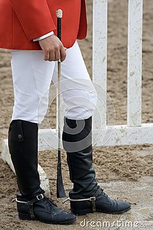 Jockey wearing riding boots