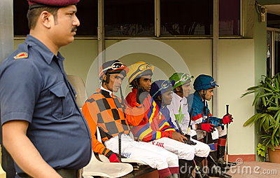 Jockeys at Hyderabad Race Club Editorial Image