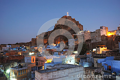 Jodhpur city and Mehrangarh Fort at night ,Rajasthan,India