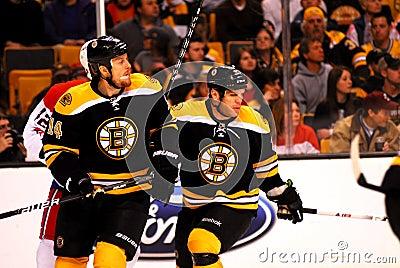 Joe Corvo and Shawn Thornton (Boston Bruins) Editorial Photo
