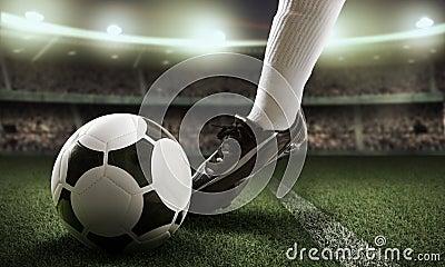 Jogador de futebol no estádio