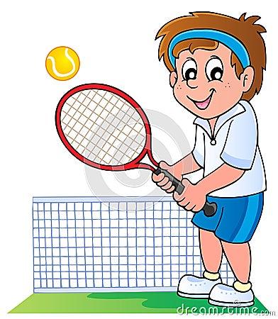 Jogador de ténis dos desenhos animados