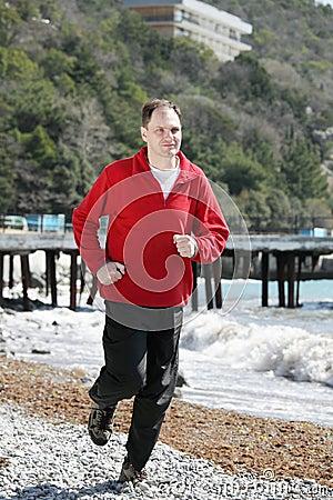 Jogging on beach