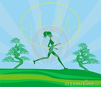 Jogging girl - card