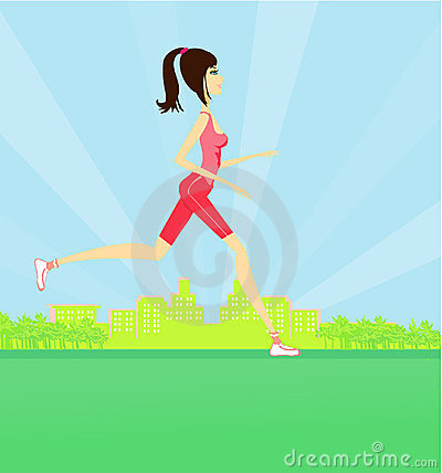 Jogging girl in summer