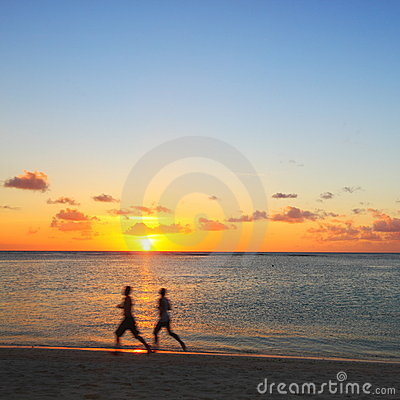 Free Jogging On The Beach Stock Image - 19750961