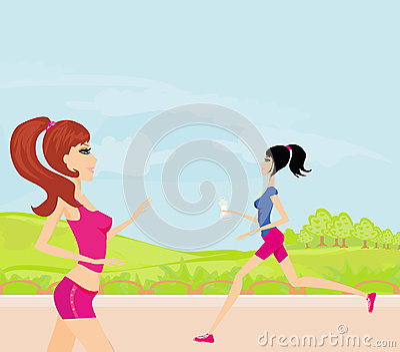 Joggingmeisjes in de zomer
