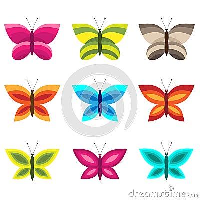Jogo de borboletas coloridas