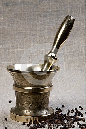 Jogo de bronze do almofariz & do pilão