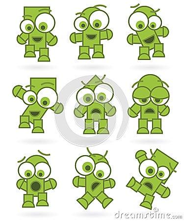 Jogo de caracteres verde engraçado do monstro do robô dos desenhos animados