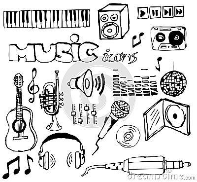 Jogo de ícones hand-drawn da música