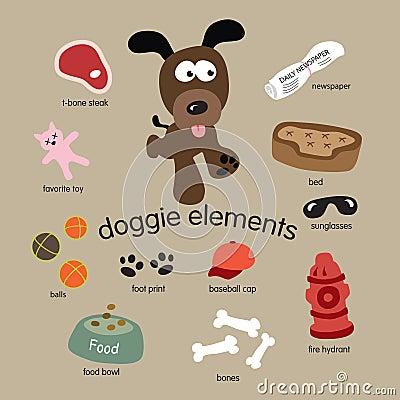 Jogo de elementos do cão