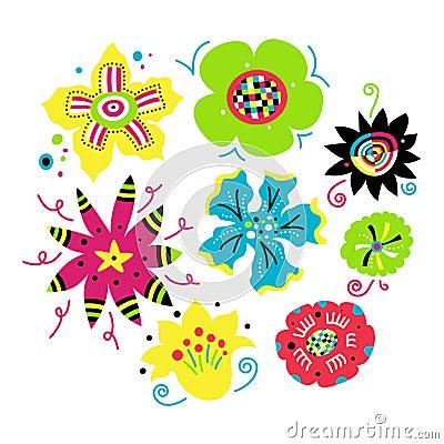 Jogo de elementos florais