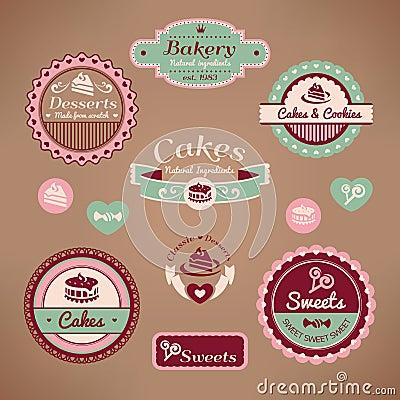 Jogo de etiquetas da padaria do vintage
