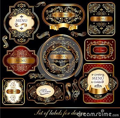 Jogo de etiquetas preto-douradas