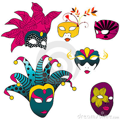 Jogo de máscaras bonitas do carnaval