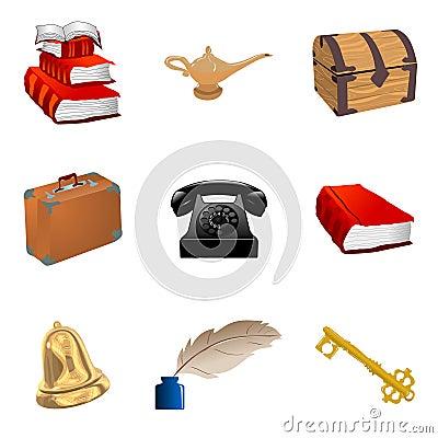 Jogo de objetos do vintage fotos de stock imagem 18378043 - Objetos vintage ...
