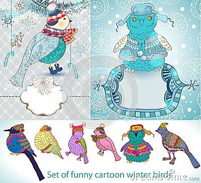 Jogo de pássaros engraçados do inverno dos desenhos animados