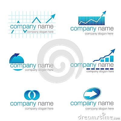 Jogo de seis logotipos financeiros