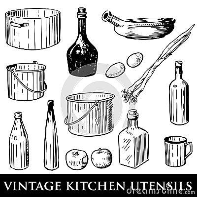 Jogo de utensílios da cozinha do vintage