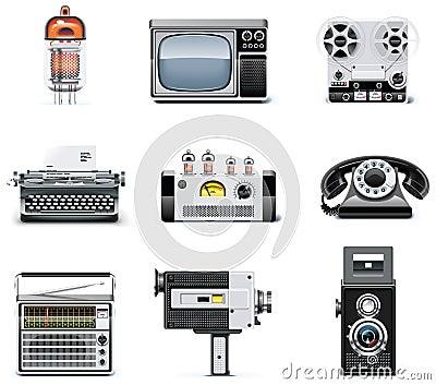 Jogo do ícone das tecnologias do vintage