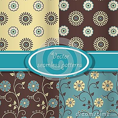 Jogo do vetor de testes padrões florais do vintage