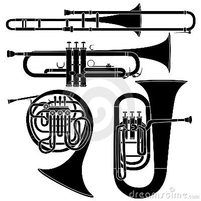 Jogo dos instrumentos musicais de bronze no vetor