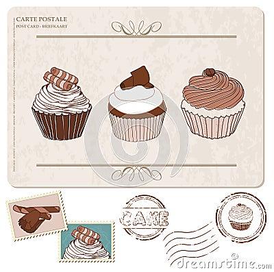 Jogo dos queques no cartão velho, com selos