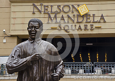 Bronze statue of Nelson Mandela in Johannesburg. Editorial Image
