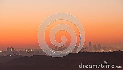 Johannesburg sunrise skyline South Africa