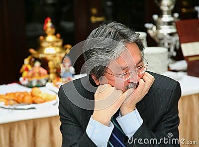 John C. Tsang - spec. finanziaria della segretaria Hong Kong Fotografia Editoriale