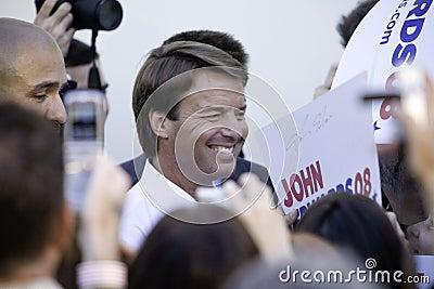 John Edwards amongst Reporters Editorial Stock Photo