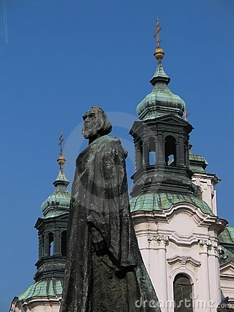 John Hus memorial in Prague (Czech Republic, Europe)