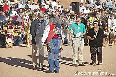 John Kerry wand Intertribal Council President Editorial Photography