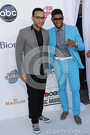 John Legend, Usher at the 2012 Billboard Music Awards Arrivals, MGM Grand, Las Vegas, NV 05-20-12 Editorial Stock Photo