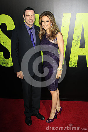 John Travolta, Kelly Preston arrives at the  Editorial Photography
