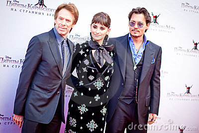 Johny Depp, Penelope Cruz and Jerry Bruckheimer Editorial Photo